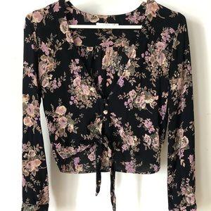 Flynn Skye Riley floral tie crop top